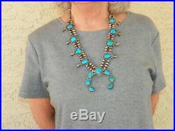 112 GRAM Vintage Sterling Silver & Turquoise Squash Blossom Necklace