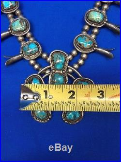 124.7g Vintage NAVAJO Sterling Silver & Turquoise SQUASH BLOSSOM Necklace
