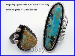 14 Vintage Native American Sterling Silver Turquoise Ring LOT Earrings 148 GRAMS