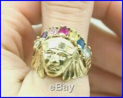14k Solid Gold Men's Women's Vintage 1970's Native American Head Ring 14kt 585 e