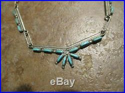 18 FINE Vintage Zuni Sterling Silver PETIT POINT Turquoise Necklace