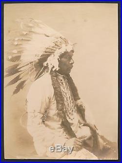 1903 NATIVE AMERICAN CHIEF Stunning FRANK LAROCHE Vintage Silver Gelatin Photo