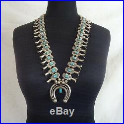 1920s Vintage NAVAJO Sterling Silver Turquoise BOX BOW SQUASH BLOSSOM Necklace