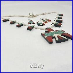1930s Thunderbird Jewelry Car Battery Depression Santo Domingo Necklace Set VTG