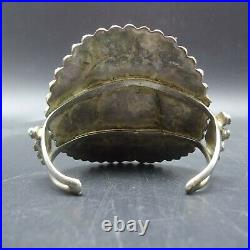 1940s Vintage NAVAJO Sterling Silver TURQUOISE Petit Point Cluster Cuff BRACELET