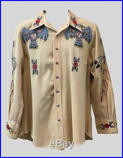 1950s Nudies Rodeo Tailors Embroidered Shirt Native American Viola Grae