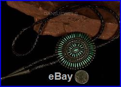1950s Old Pawn Vintage NAVAJO NeedlePoint Turquoise Handmade Sterling Bolo Tie