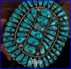 1950s Old Pawn Vintage NAVAJO Petit Point Turquoise Handmade Sterling Bolo Tie