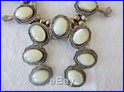 1950s Vintage Old Pawn Navajo Squash Blossom Necklace Sterling Silver MOP 171 Gr