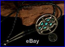 1960s Old Pawn Vintage NAVAJO Sand Cast Turquoise Handmade Sterling Bolo Tie