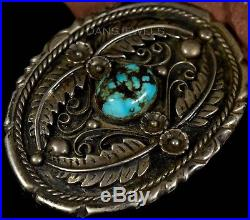 1960s Old Pawn Vintage NAVAJO Sterling Natural Bisbee Turquoise Belt Buckle