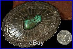 1960s Old Pawn Vintage NAVAJO Sterling Natural Turquoise Belt Buckle