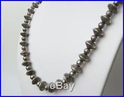 1970s vintage Navajo sterling silver bench bead necklace 23 Inch 45 gram