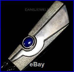 1980s Old Pawn Vintage NAVAJO Dark Blue LAPIS Handmade Sterling Bolo Tie