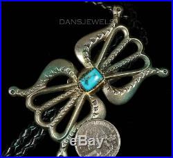 1980s Old Pawn Vintage NAVAJO Sand Cast Turquoise Handmade Sterling Bolo Tie