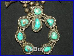 206 GRAM Vintage Sterling Silver & Turquoise withPyrite Squash Blossom Necklace