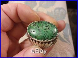 20g VTG MENS NAVAJO SPIDERWEB CARICO LAKE TURQUOISE STERLING SILVER RING SIZE 12