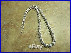 23 Vintage NAVAJO Graduated Sterling Silver PEARLS Bead Necklace on Foxtail