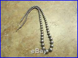 23 Vintage Navajo Graduated Sterling Silver Pearl Bead Necklace on Foxtail