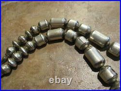 25 SCARCE OLDER Vintage Navajo Sterling Silver BARREL BEAD Necklace