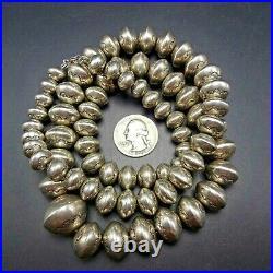 30 LONG Vintage NAVAJO Hand Stamped Sterling Silver NAVAJO PEARLS NECKLACE 159g