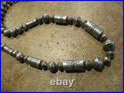 30 OLDER Vintage TOMMY SINGER (d.) Navajo Sterling Barrel Bench Bead Necklace