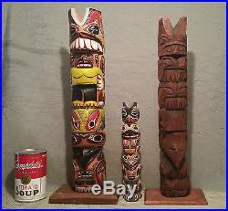 3 JOHN WILLIAMS native american indian totem pole carving vtg seattle art statue