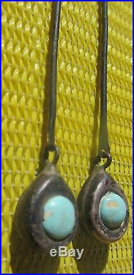 3 Pairs Vintage Old Pawn Fred Harvey Era Earrings Turquoise Sterling Stamped
