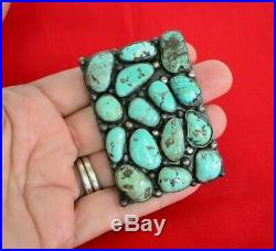 3 pcs Vtg Old Pawn Sterling Silver Navajo Kingman Nugget Turquoise Concho Belt