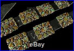 45 Vintage Old Pawn Navajo Gem Grade Royston Turquoise STERLING Concho Belt