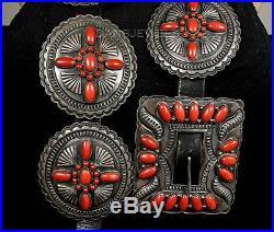 48 Vintage Old Pawn Navajo CADMAN Mediterranean Sea Coral STERLING Concho Belt