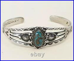 6, Vtg Navajo Native American Handmade Turquoise Sterling 925 Cuff Bracelet