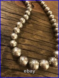 #906 Vintage Stamped Navajo Pearls, Sterling Silver 19 Necklace 925 Beads