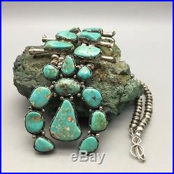 A GORGEOUS, Vintage, Green Turquoise and Sterling Silver Squash Blossom Necklace
