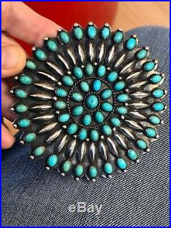 A+ Old Pawn Vintage Petit Point NAVAJO Zuni TURQUOISE & Silver 3 7/8 Pin Brooch