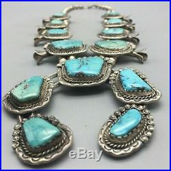 A Stunning, Eye Catching, Vintage Turquoise Squash Blossom Necklace