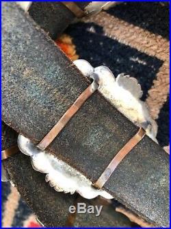 A+ Unusual Vintage Navajo Southwestern Sterling Silver Concho Belt & Buckle