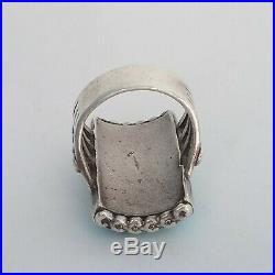 A+ VINTAGE ZUNI STERLING SILVER TURQUOISE COBBLESTONE INLAY MEN'S RING size 9