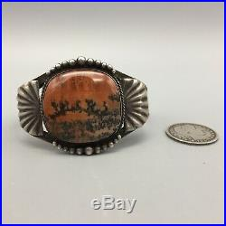 A Vintage Fred Harvey Era Petrified Wood and Sterling Silver Cuff Bracelet