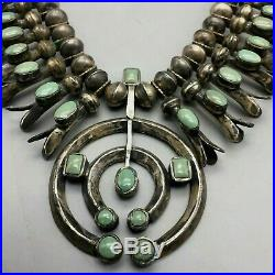 A Vintage Green Turquoise Handmade Squash Blossom Necklace That is A Stunner