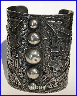Amazing Extra Wide Vintage Navajo Indian Whirling Log Arrow Silver Cuff Bracelet