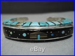 Amazing Raised Inlay Vintage Navajo Sterlng Silver Turquoise Bracelet Old