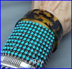 Amazing Vintage Native American 10 Row Silver Snake Eye Turquoise Cuff Bracelet