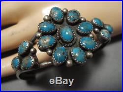 Amazing Vintage Navajo Domed Turquoise Sterling Silver Bracelet Old Cuff
