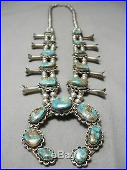 Amazing Vintage Navajo Royston Turquoise Sterling Silver Squash Blossom Necklace