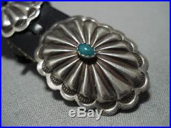 Amazing Vintage Navajo Sterling Silver Green Turquoise Concho Belt Old