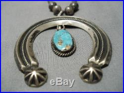 Amazing Vintage Navajo Turquoise Sterling Silver Squash Blossom Necklace Old