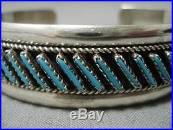 Amazing Vintage Zuni Navajo Turquoise Sterling Silver Bracelet Old