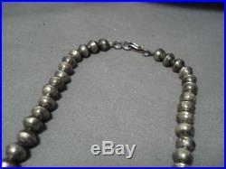 Ambrose Roanhorse Vintage Navajo Sterling Silver Cross Squash Blossom Necklace