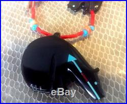 American indian Quandelacy Fetish Necklace vintage ZNM Turquoise, Coral, Sterlin